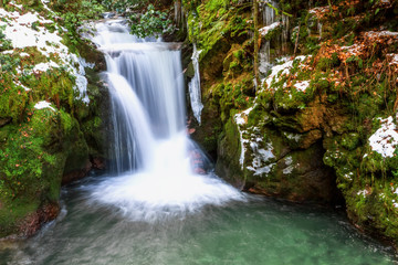 Forest waterfall in Baden-Baden. Europe, Germany.