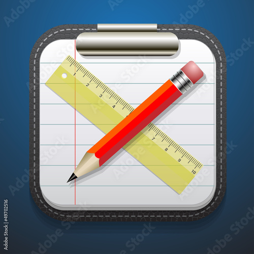 notepad  pencil and ruler icon