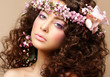Maiden. Neat Woman with Pink Romantic Wreath. Classy Brunette