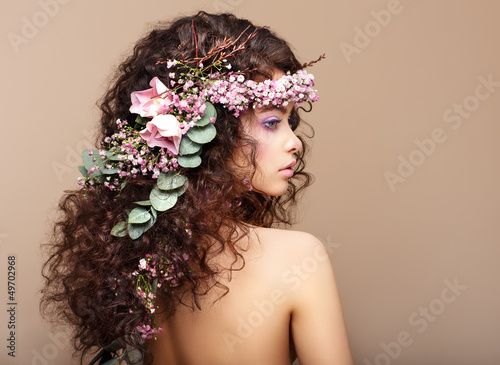 Woman with Colorful Wreath of Flowers. Valentine's Day