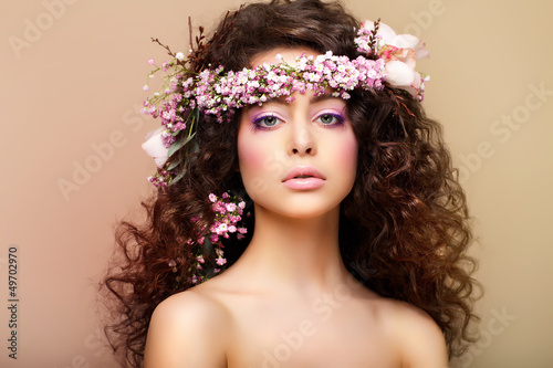 Purity. Virginity. Attractive Charming Woman with Frizzy Hairs