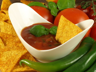 Salsa sauce with mexican nachos