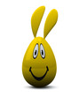 Yellow Easter egg with smiling face and rabbit ears, 3d