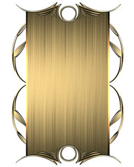 Gold nameplate with gold ornate edges