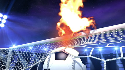 burning soccer ball is slowly flying in the goal