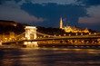 Night view of Chain bridge and Buda part of Budapest
