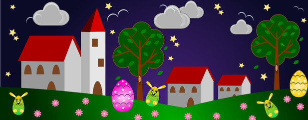 Easter little village in the night