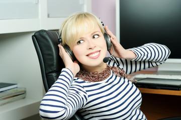 cheerful girl in headphones