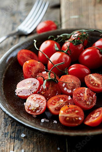 Cherry tomatoes with sea salt  and black pepper
