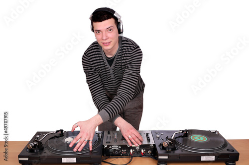 dj with turntables on white