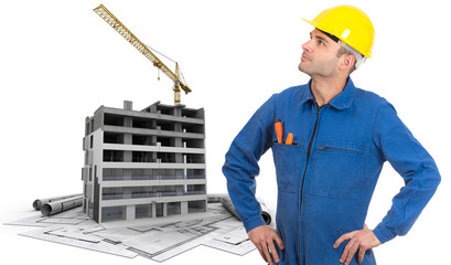 Construction worker and site