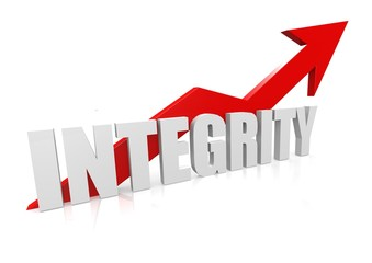 Integrity with upward red arrow