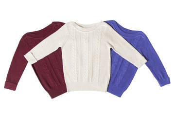 Three sweaters isolated