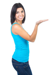 woman holding an imaginary object in her hand