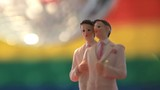 Gay groom cake toppers revolving with disco ball