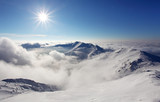 Fototapety Winter mountain landscape with sun - Slovakia