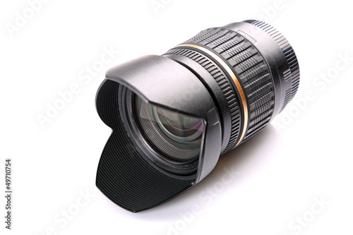 Camera lens isolated over white background