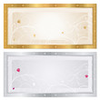 Gift Voucher (coupon) template. Gold and silver border