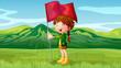 A girl holding a flag