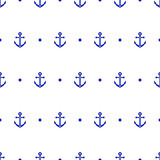 Anchor and dot in blue and white seamless pattern, vector