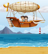 A boy and a girl riding an airship