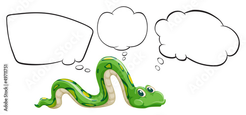 A green snake with the empty bubble notes