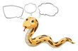 A snake with empty bubble notes