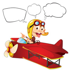 A monkey riding on a red plane