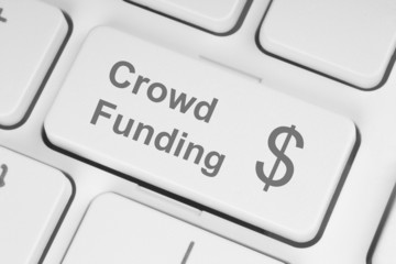 Crowd funding button on keyboard .