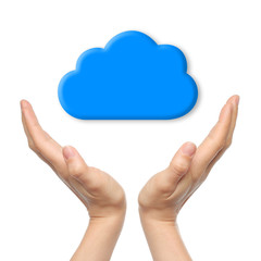 Cloud computing concept with woman hands.