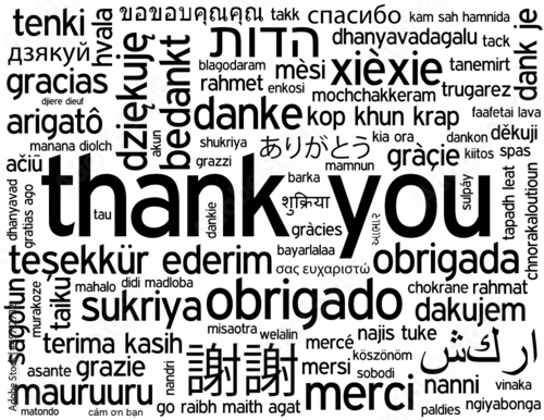 """THANK YOU"" Tag Cloud (a lot thanks gratitude speech bubble)"