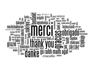 "Nuage de Tags ""MERCI"" (message thank you danke gracias)"