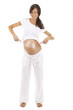 Schwangerschaft -  Frau zeigt auf Bauch mit Symbolen
