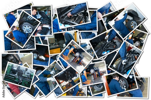 collage whit car repair images