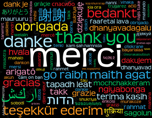"Carte ""MERCI"" (message mots amour oui thank you danke gracias)"