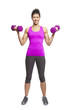 Young woman exercising holding dumbbells smiling