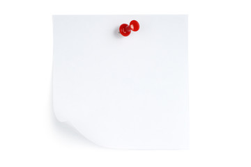 White note with pin on white background.