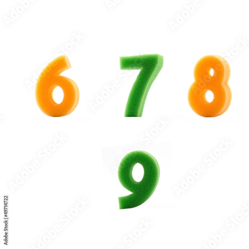 alphabet sponge (number) on white background 2