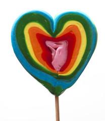 Colorful heart shaped lollipop