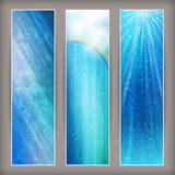 Blue rain banners Abstract water background design