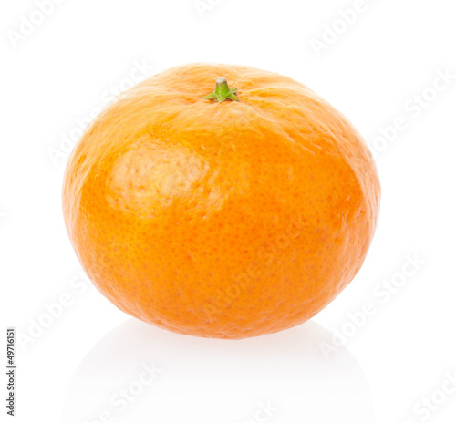 Tangerine or mandarin on white, clipping path included