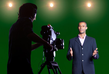 Presenter Talks to Camera in a CSO Television Studio