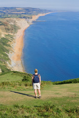 Enjoying view of Dorset coast