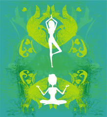 woman in a traditional yoga pose vector illustration