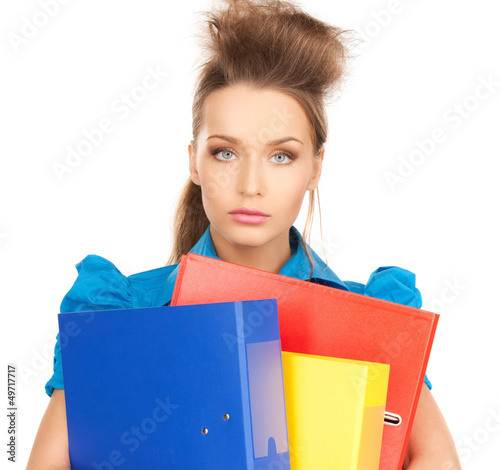 happy woman with folders