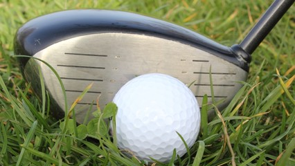 a golf ball in the grass ready to be hit