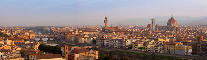 Florence XXL panorama in the morning, Tuscany, Italy, Europe
