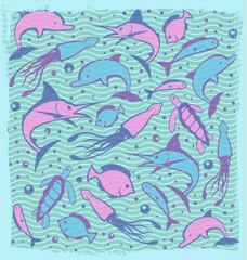 Cute Marine Life Aquatic Animals Fish Pattern