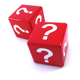 Two red dice with question marks