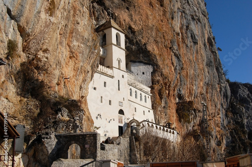 canvas print picture The old famous Monastery Ostrog in the rocks, Montenegro